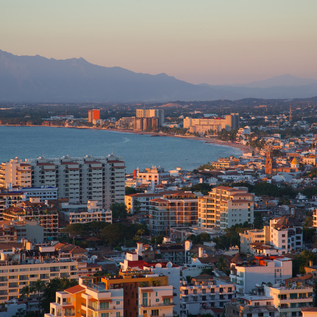 """""""View over Downtown at sunset, Puerto Vallarta, Jalisco, Mexico, North America"""" stock image"""