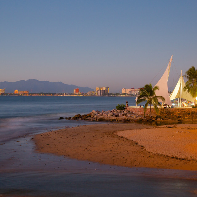 """""""View over beach ast dusk, Downtown, Puerto Vallarta, Jalisco, Mexico, North..."""" stock image"""