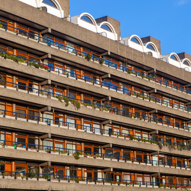 """Barbican Apartments, modernist architecture and high rise residential living..."" stock image"