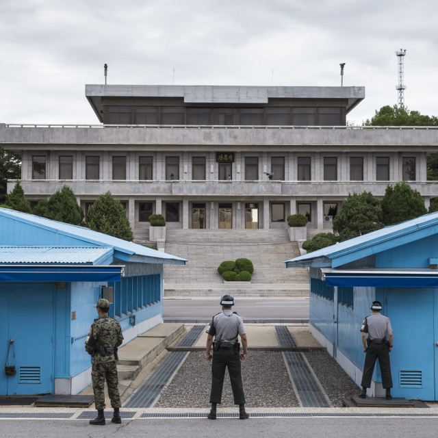 """ROK soldiers and blue UN buildings face North Korea, Panmunjom, Joint..."" stock image"