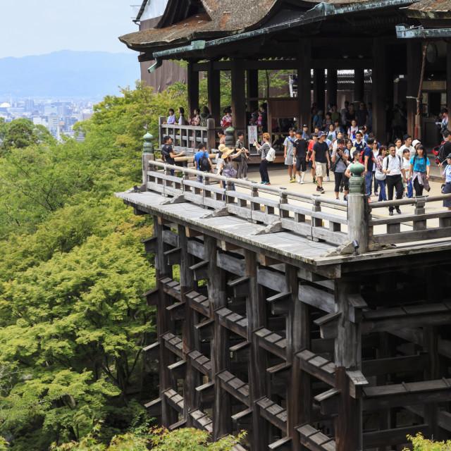 """Main hall, busy hillside veranda with huge wooden pillars, Kiyomizu-dera,..."" stock image"
