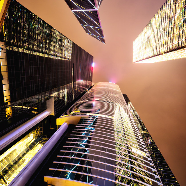 """HSBC and BOC towers at night."" stock image"