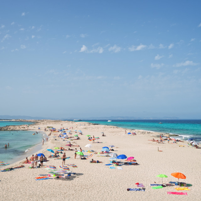 """Ses Ilettes - Infinity Beach on Formentera is one of its most famous beaches."" stock image"