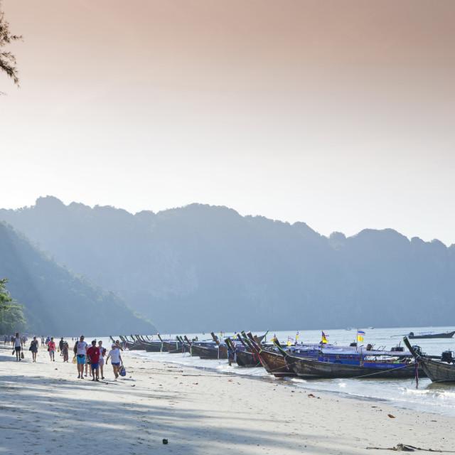 """Long-tailed boats on Ao Nang beach near Krabi, Thailand, Southeast Asia, Asia"" stock image"