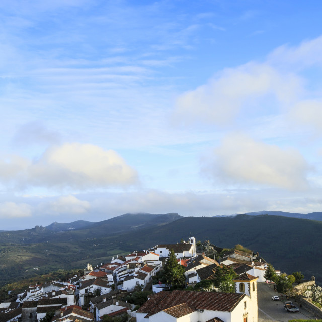 """The 15th century parish church, medieval town and the Serra do Sao Mamede..."" stock image"
