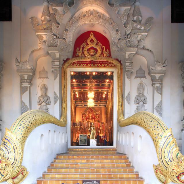 """Naga dragons on the main bot of the temple of Wat Chedi Luang, Chiang Mai,..."" stock image"