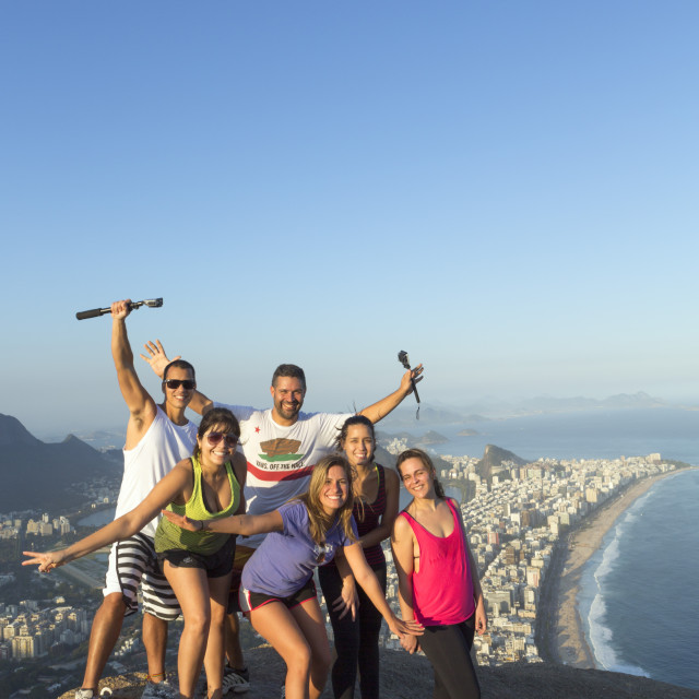"""""""Local tourists on the summit of Dois Irmaos peak (Two Brothers Peak) with..."""" stock image"""