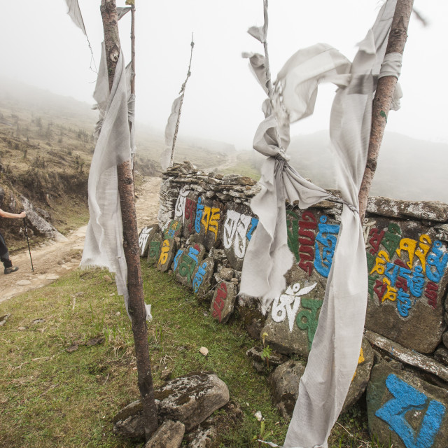 """""""Gateway to Nepal with flags and Buddhist inscriptions near the village of..."""" stock image"""