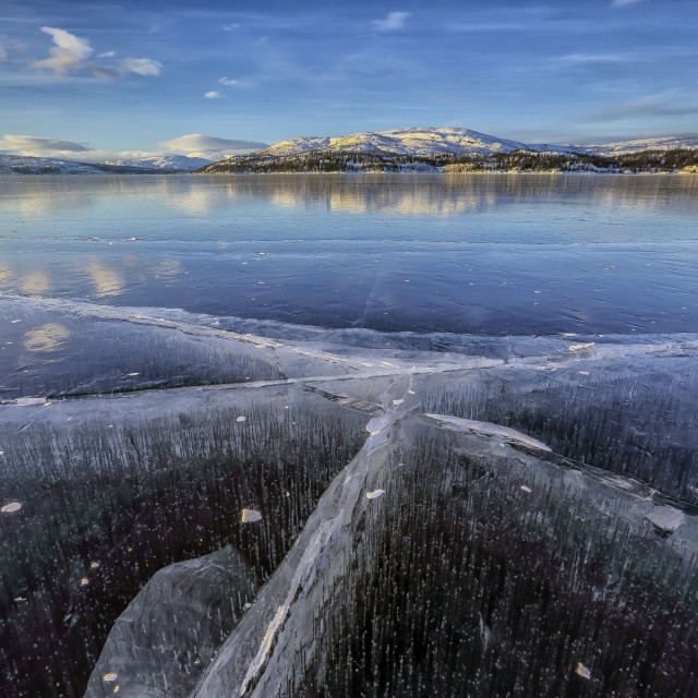 """The frozen Lake Limingen Rorvik Børgefjell National Park Trøndelag Norway..."" stock image"
