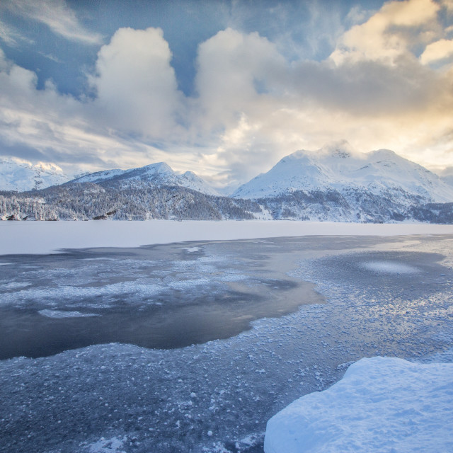 """The shore of the frozen Lake Sils Upper Engadine Canton of Grisons..."" stock image"