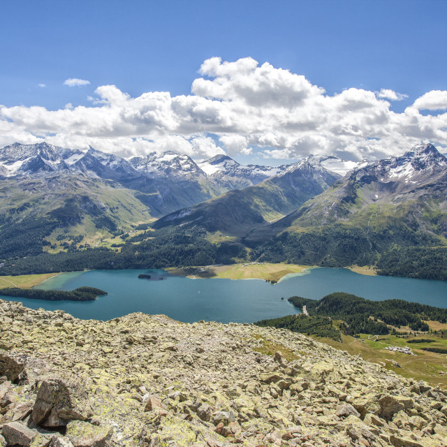 """Top view of Lake Sils with snowy peaks in background Engadine Canton of..."" stock image"