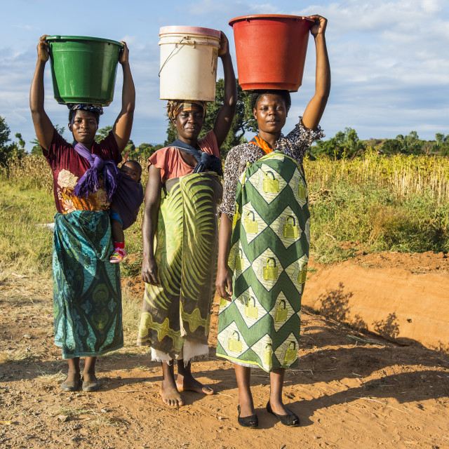 """Local women carrying buckets on their head, Malawi, Africa"" stock image"