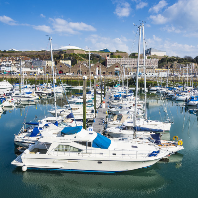 """Sport boat harbour, St. Helier, Jersey, Channel Islands, United Kingdom, Europe"" stock image"