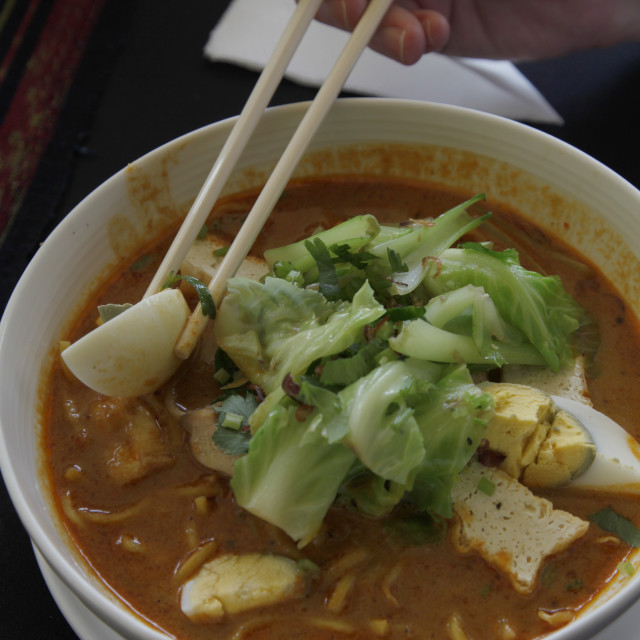 """""""Traditional Laksa stew in a restaurant in Kuching, Borneo, Malaysia"""" stock image"""