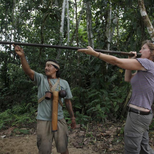 """Ecotourism with native Huaorani nation at Yasuni National Park. Amazon, Ecuador"" stock image"