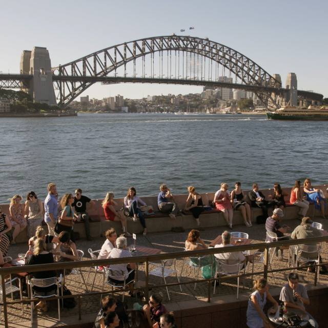 """Bars and restaurants by the Opera House and Harbour Bridge, Sydney, Australia"" stock image"
