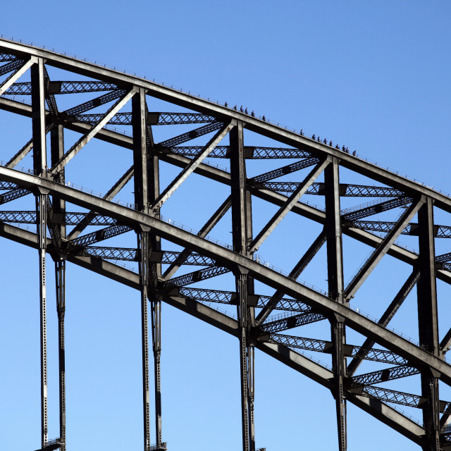 """The Harbour Bridge, with tourists walking on top. Sydney, Australia"" stock image"