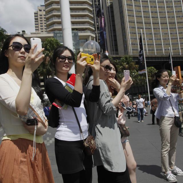 """Chinese tourists in Sydney, Australia"" stock image"