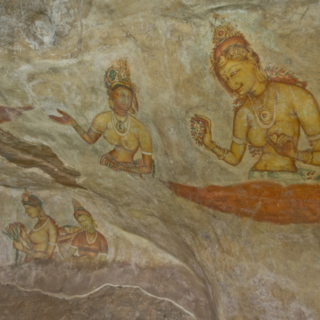 """Frescoes in the ancient city of Sigiriya, with carvings on a rock in a..."" stock image"