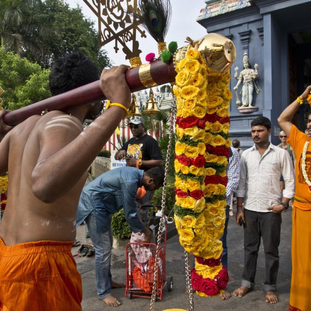 """Thaipusam Hindu Tamil festival celebrated in Little India, Singapore. It..."" stock image"
