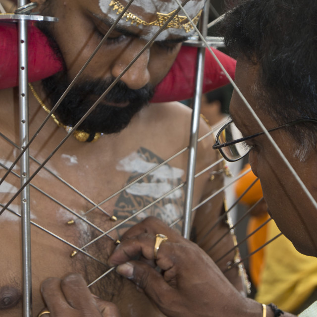"""""""Thaipusam Hindu Tamil festival celebrated in Little India, Singapore. Some..."""" stock image"""