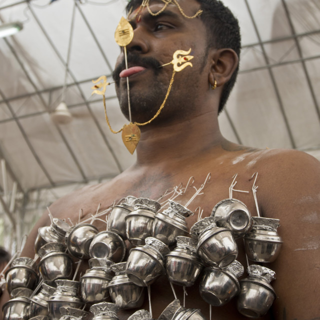 """Thaipusam Hindu Tamil festival celebrated in Little India, Singapore. Some..."" stock image"