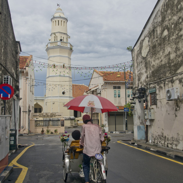 """""""Tourists on bycicles in Penang, Malaysia"""" stock image"""