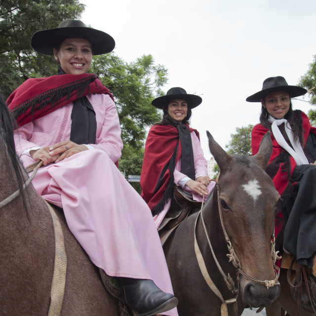 """""""Women in a parade of gauchos in traditional costumes in Salta, Argentina"""" stock image"""