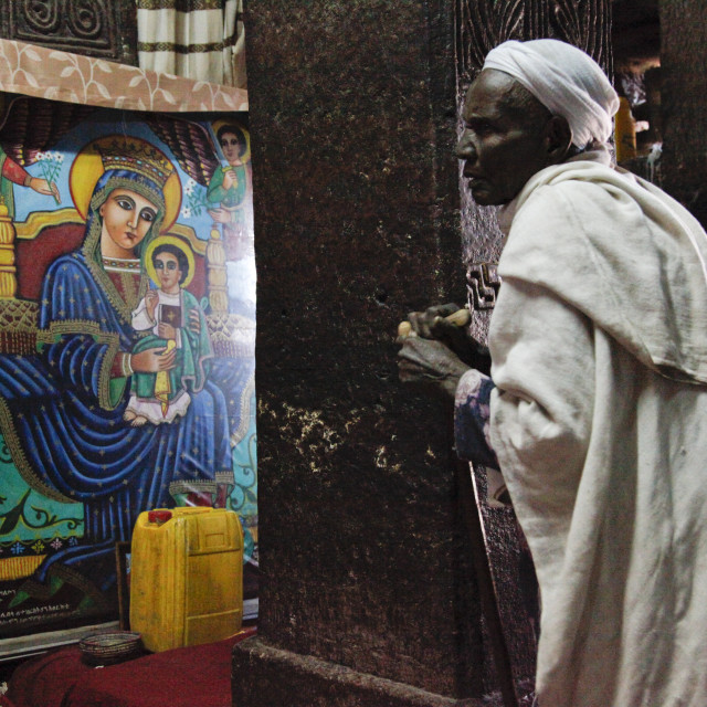 """Easter Orthodox Christian religious celebrations in Lalibela, Ethiopia"" stock image"