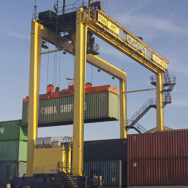 """""""Containers with imported goods at the harbour in Montevideo, Uruguay"""" stock image"""
