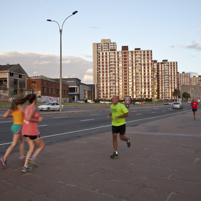 """""""People exercising along the coastal road in Montevideo, Uruguay"""" stock image"""