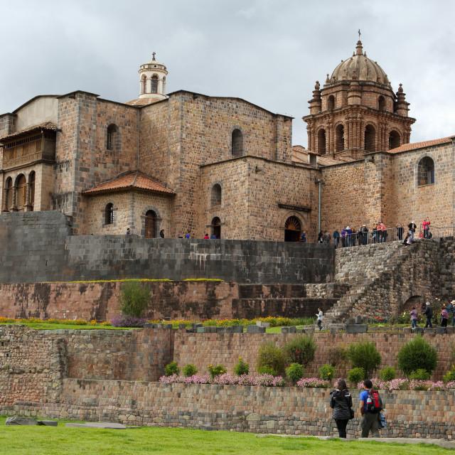 """Coricancha Temple, important temple of the Inca Empire, Cusco City, Peru,..."" stock image"