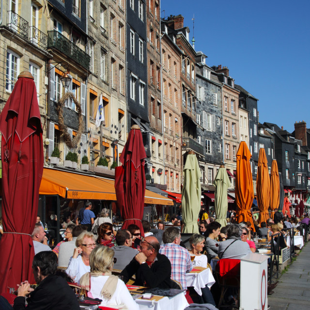 """Diners lunching in restaurants at water's edge, Vieux Bassin, Old Port,..."" stock image"