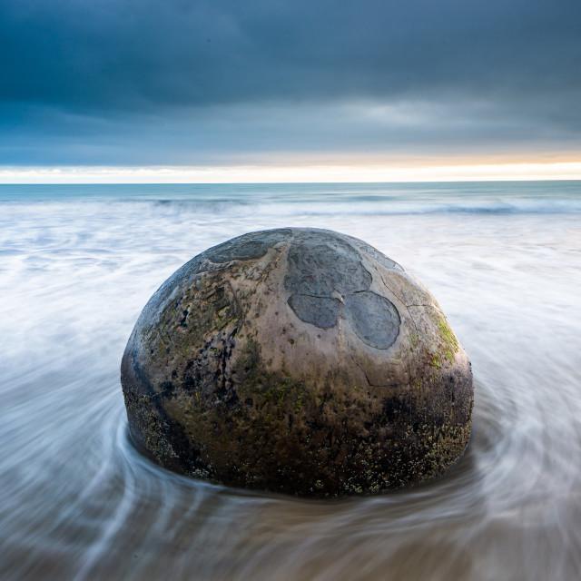 """""""Moeraki Boulder, Koekohe Beach, Moeraki Penninsula, Otago, South Island, New..."""" stock image"""