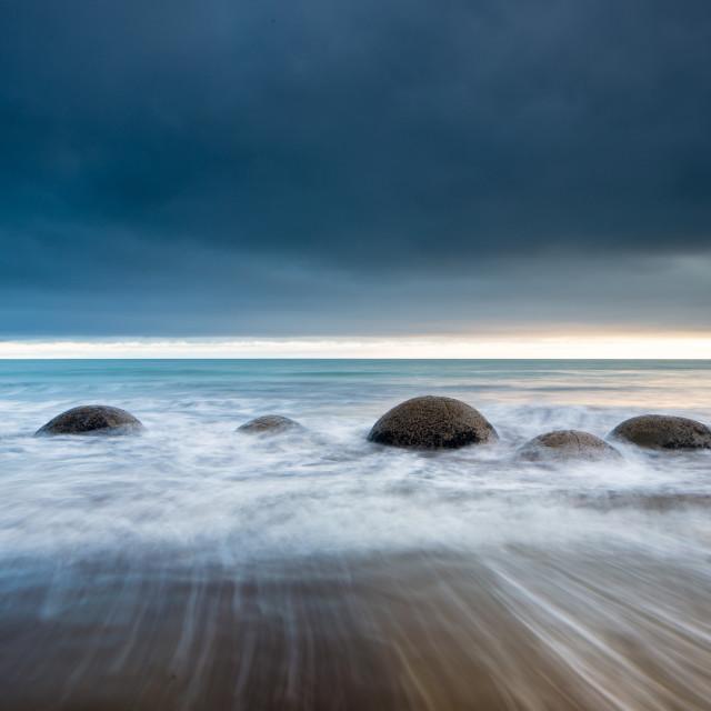"""""""Moeraki Boulders, Koekohe Beach, Moeraki Penninsula, Otago, South Island, New..."""" stock image"""