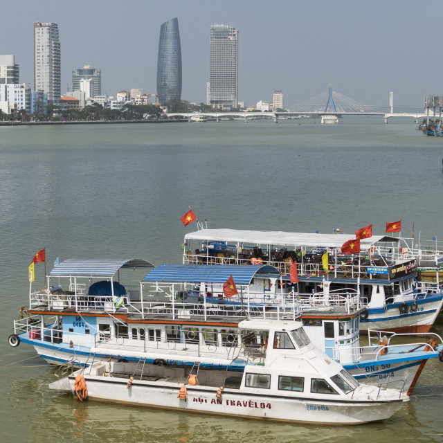 """""""Boats and Song Han River, Danang, Vietnam, Indochina, Southeast Asia, Asia"""" stock image"""