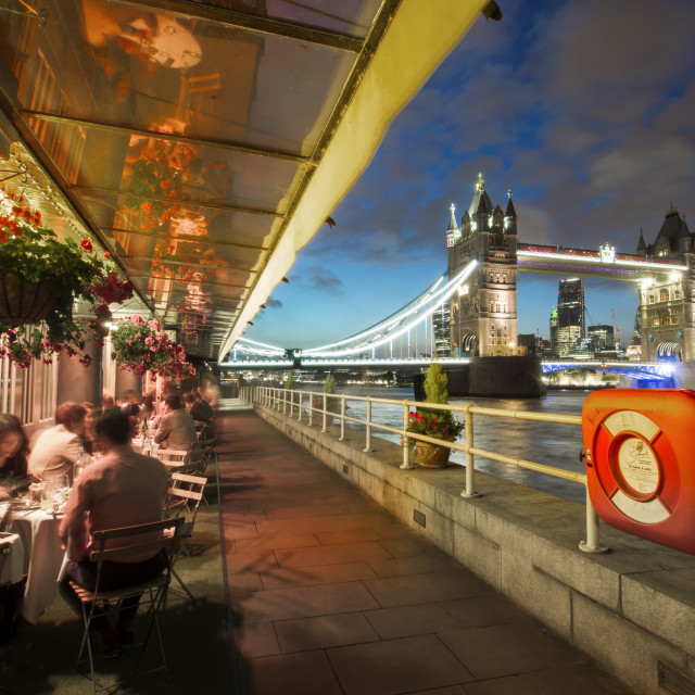 """Terrace restaurant and Tower Bridge at dusk, London, England, United Kingdom,..."" stock image"