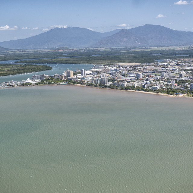"""Aerial photograph of the city and the mouth of Trinity Inlet an important..."" stock image"