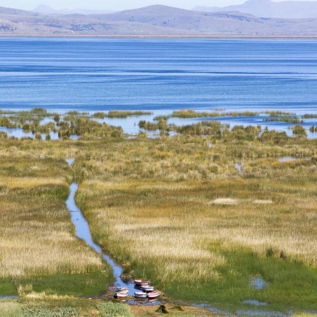 """Lake Titicaca, Peru, South America"" stock image"