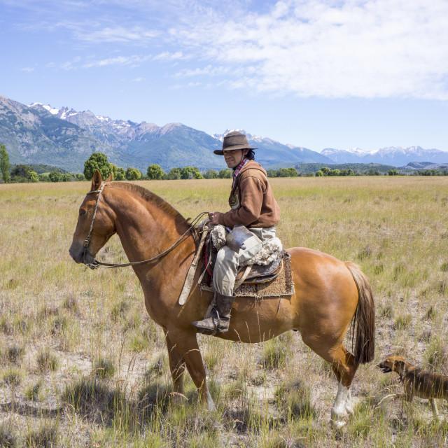 """Gaucho on horseback, Patagonia, Argentina, South America"" stock image"