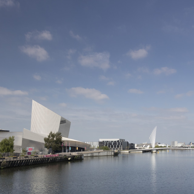 """Imperial War Museum North & Manchester Ship Canal, Salford Quays, Manchester,..."" stock image"