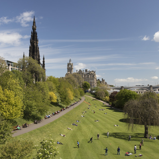 """Scott Monument and Princes Street Gardens, Edinburgh, Scotland"" stock image"