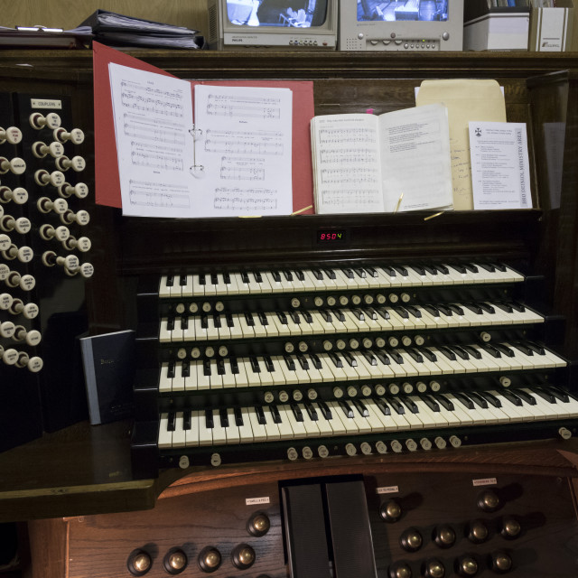 """The organ console, Bangor Cathedral, Wales, United Kingdom"" stock image"