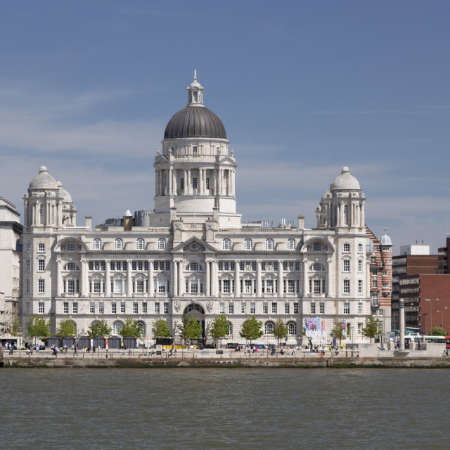 """Port of Liverpool Building from the Mersey, Liverpool, Mersyside, England"" stock image"