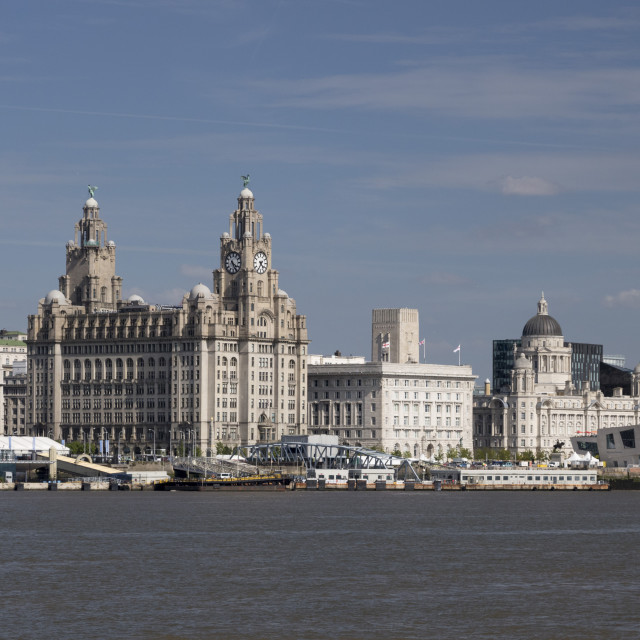 """The Royal Liver Building, Port of Liverpool Building, Museum of Liverpool and..."" stock image"