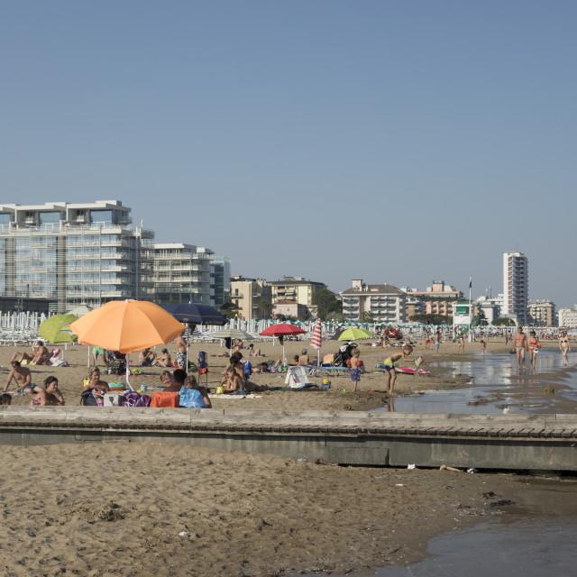 """""""The beach, Lido di Jesolo, Venice, Italy"""" stock image"""