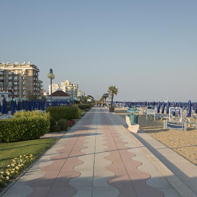 """""""The promenade and beach, Lido di Jesolo, Venice, Italy"""" stock image"""