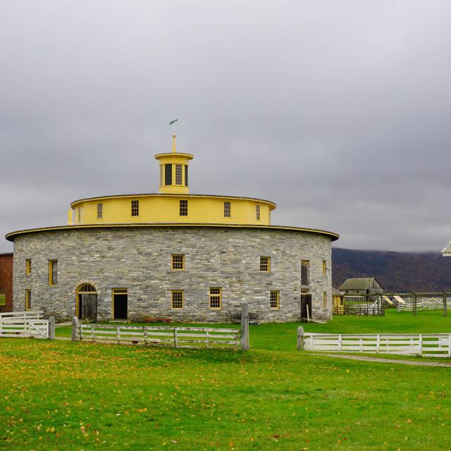 """Round barn, Hancock Shaker Village, Pittsfield, The Berkshires,..."" stock image"