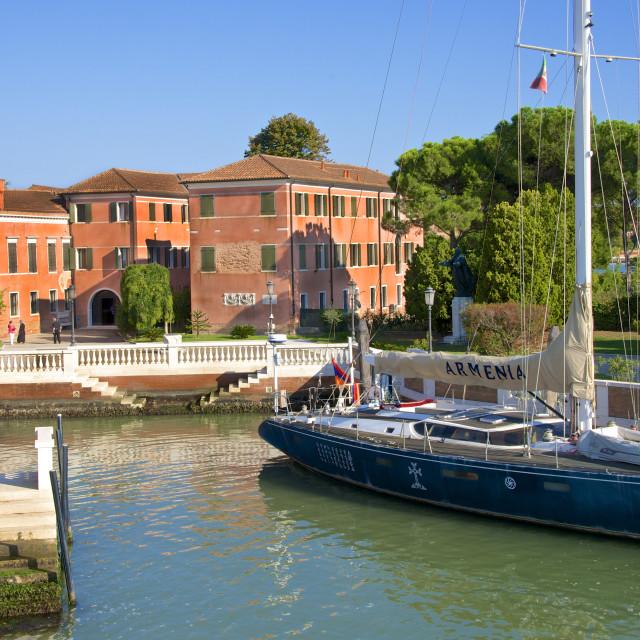 """Armenian Monastery, San Lazzaro degli Armeni, and Armenian sail boat, Venice,..."" stock image"
