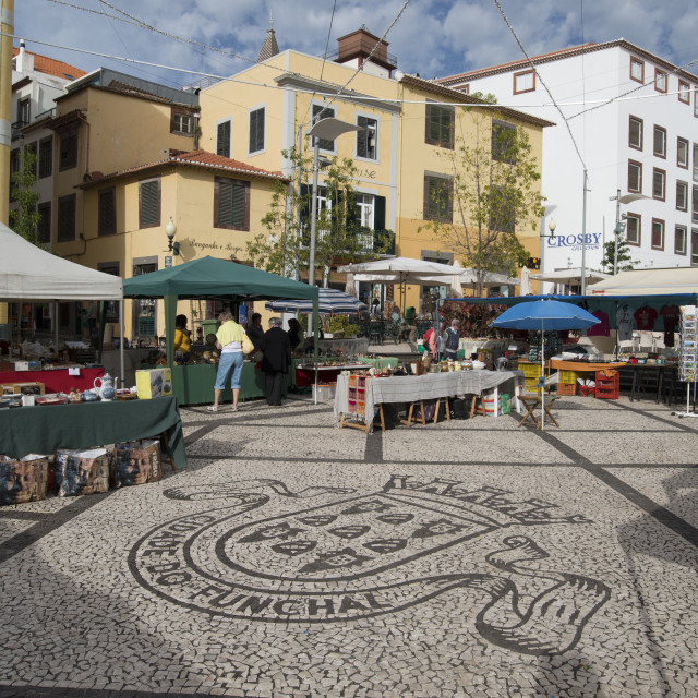 """Craft stalls, Funchal, Madeira, Portugal, Atlantic, Portugal"" stock image"